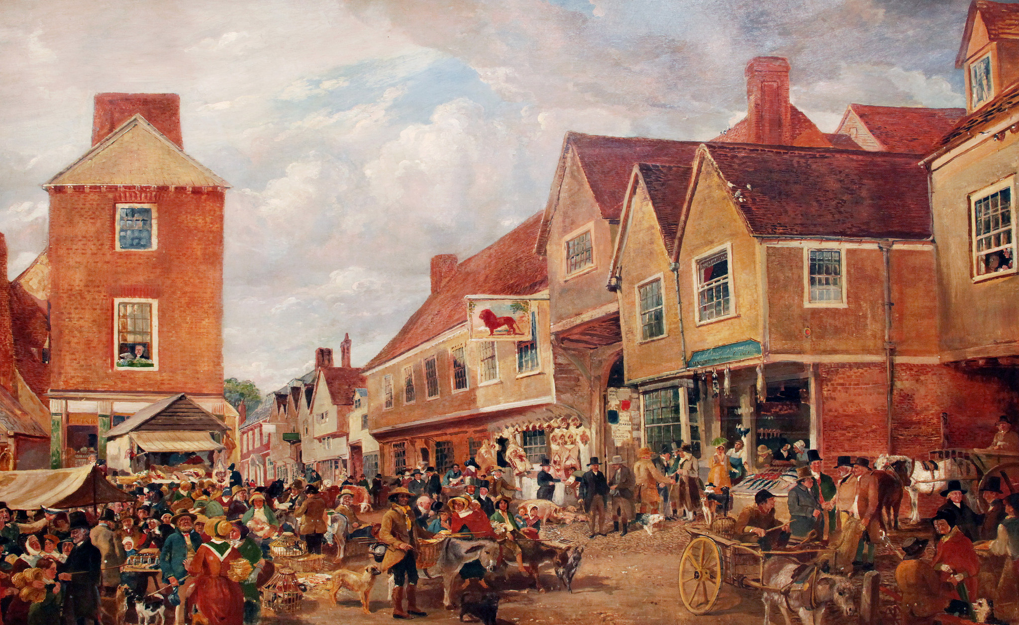Hitchin Marketplace oil painting by Samuel Lucas, 1840