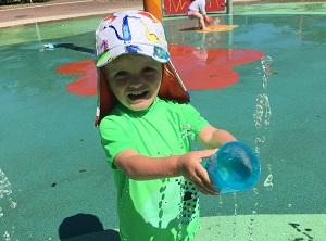 Child playing at Royston splash park