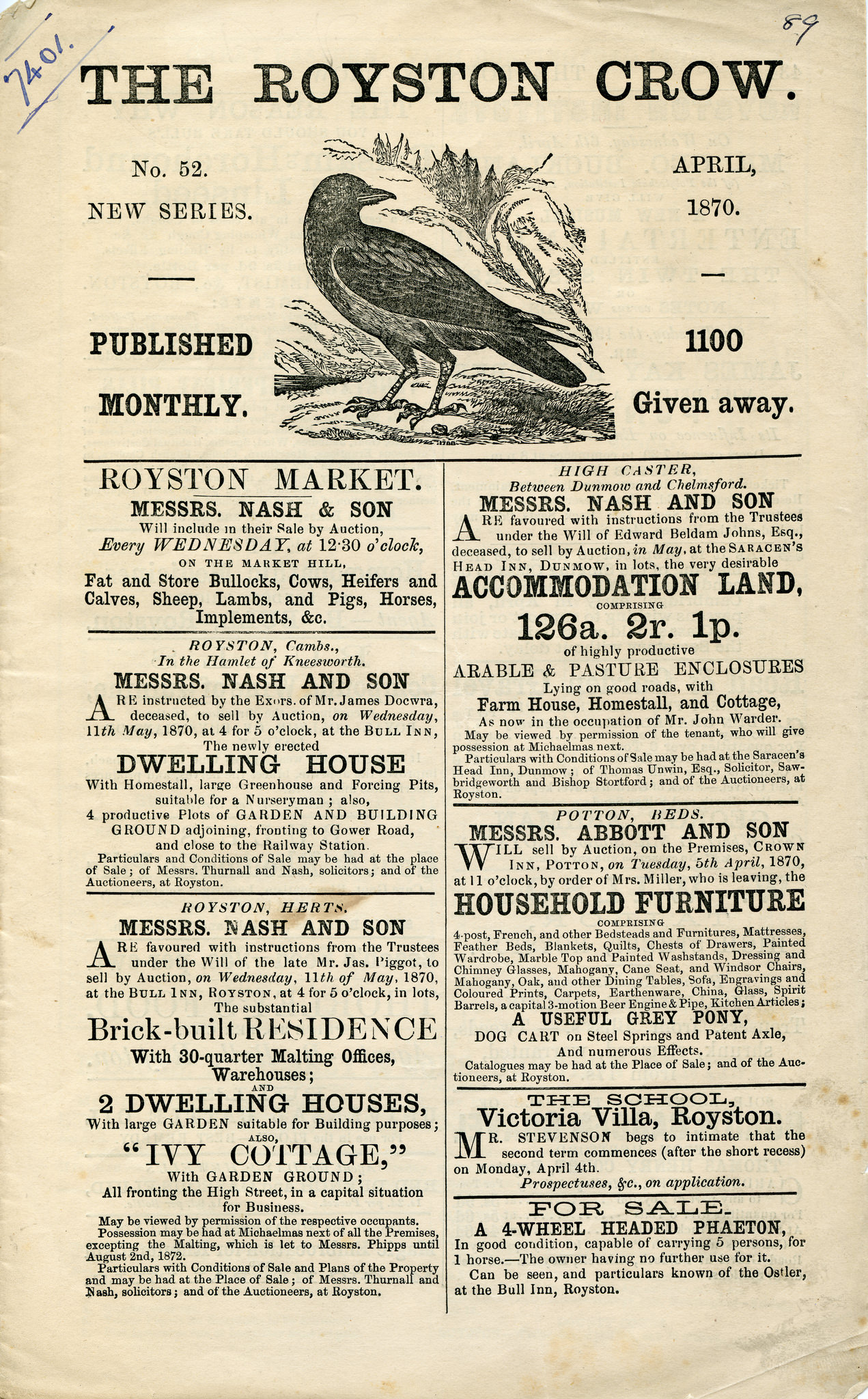 Front page of the Royston Crow, 1870