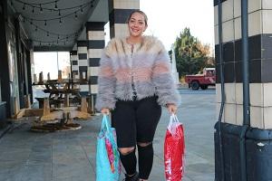 Woman shopping in Letchworth
