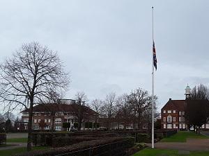 Flag at half mast in Letchworth