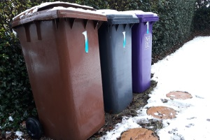 Bins covered in snow